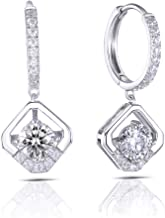 DovEggs Solid 10K White Gold Post 1ct Center 5mm G-H-I Color Heart Arrows Cut Moissanite Hoop Earrings with Accents Platinum Plated Silver for Women