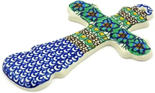 Polish Pottery 7¾-inch Cross Made by Ceramika Artystyczna (Mardi Gra Theme) Signature UNIKAT + Certificate of Authenticity