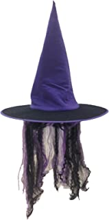 Witch Hat with Hair in Orange or Purple