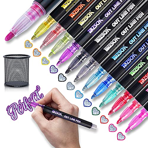 12 Glitter Markers with Holder - Double Line Outline Pens - Doodle Dazzles Shimmer Marker Set with Color Self-Outline for Scrapbooking, Drawing, Poster Paint, Photo Album, Journal - Arts & Crafts Metallic Markers for Kids and Adults