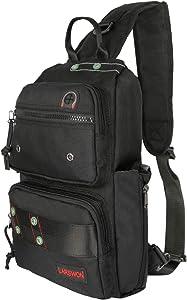 Larswon Backpack Purse, Small Backpack Sling Backpack Crossbody Bags for Women Men Chest Bag Travel Backpack Black