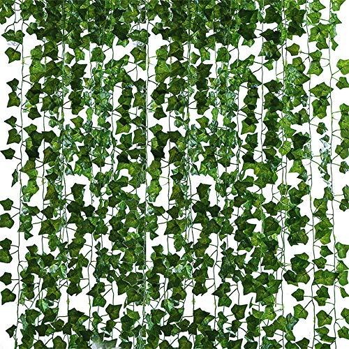 Vegena Efeu Künstlich, 12 Stück Efeu Hängend Girlande Efeuranken Fake Ivy Blätter Künstliche Hängepflanzen Knstpflanze Efeu Pflanze Weinreben Farne Dekoration für Party Garten Wanddekoration Hochzeit