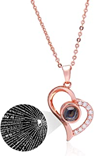 Ckysee Love Heart Necklace Necklace for Women 100 Languages I Love You Memory Necklace Best Gift for Her