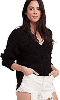 Free People Womens Coco Cotton Long Sleeves V-Neck Sweater