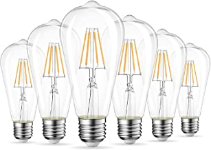 GHC LED Gloeilampen 6Pack LED-gloeilamp filament rustiek helder St64 E27 E26 2700K Warm Wit Vervanging 60W gloeilamp 806LM...
