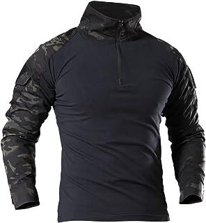 f57c8523de8 LHHMZ Chemise à Manches Longues Militaire pour Homme Chasse au Combat en  Noir Randonnée T-