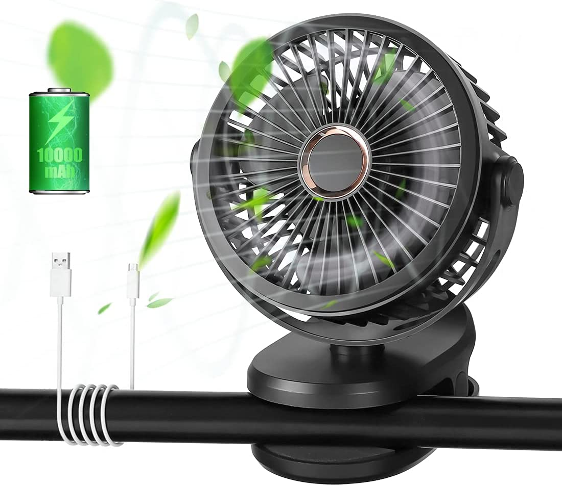 Opard Portable Mini Clip on Fan, 10000mAh Rechargeable Battery Operated, Personal Small USB Desk Fan for Bedroom Home Room Stroller Table Camping