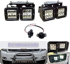 DaSen For 4x 18W LED Fog Light kit W/Horizontal Fog Lamp Location Mounting Bracket Kit Fit 2007-2014 Chevy Silverado 1500/2500/3500