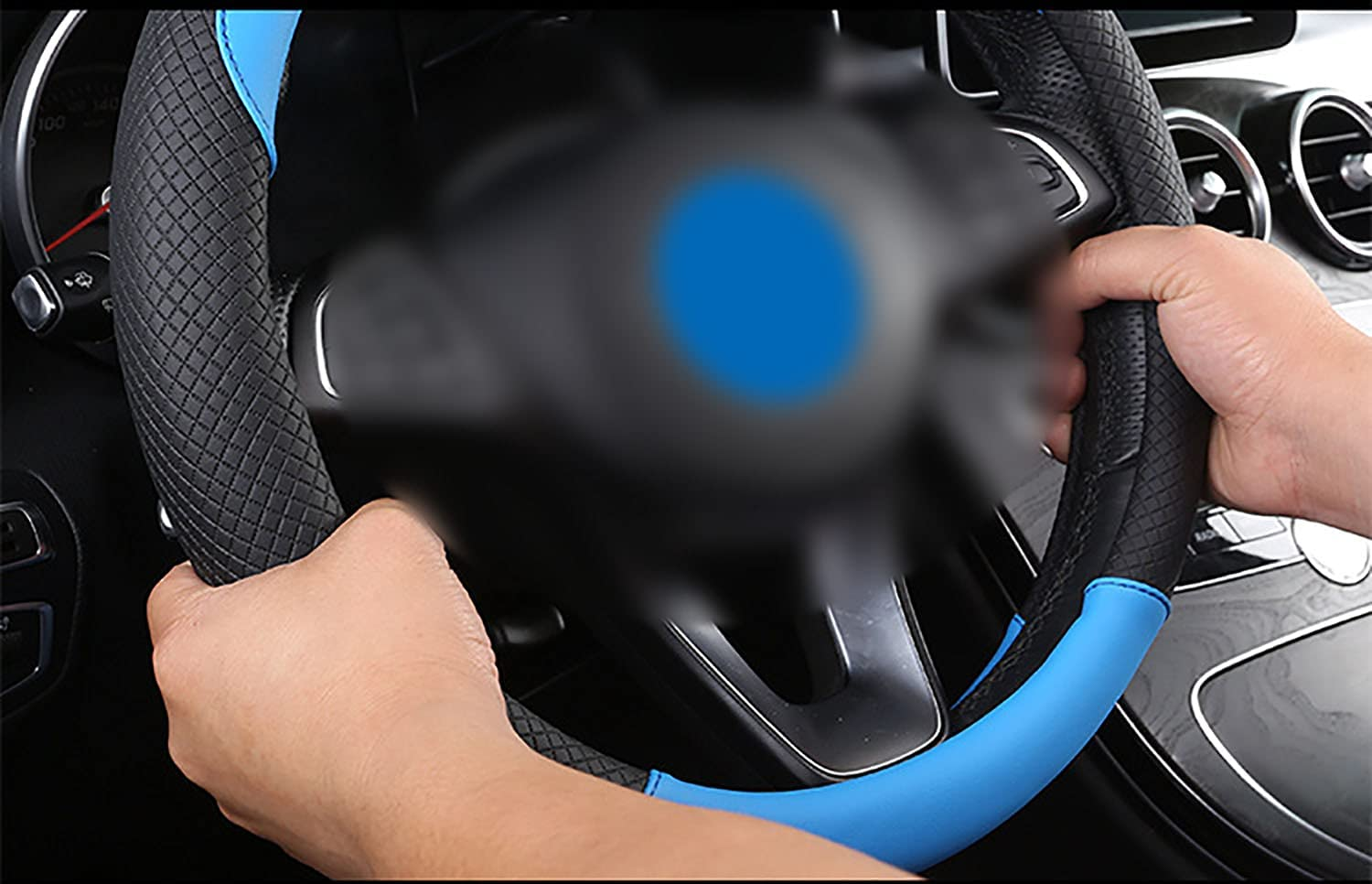 Universal 15 Inches Microfiber Leather Viscose Anti-Slip Steering Wheel Protector Breathable Auto Car Steering Wheel YYaaloa 2pcs Car Steering Wheel Cover 2pcs, Black Blue