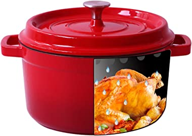 Enameled Cast Iron Dutch Oven - Red Color 4.7-QT SGS Certified Energy Efficient and eco-friendly(Red,4.7QT)