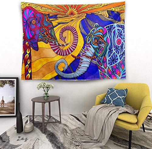 'NA' Tapiz de elefante para pared, decoración del hogar, divertido tapiz de dos elefantes, para colgar en la pared, bohemio, hippie, tapices para dormitorio, sala de estar, dormitorio 200 x 152 cm