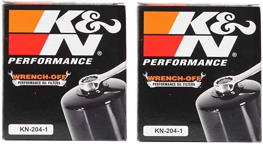 K&N KN-204-1 New Motorcycle/Powersports High Performance Oil Filter Black, 2 Pack