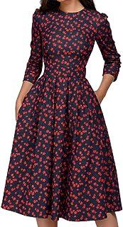 Dubocu LLC Women's Floral Vintage Dress Elegant Midi Evening Dress 3/4 Sleeves