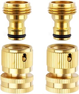 Litorange Easy Connect New Garden Hose Nozzle End and Quick Connector Kit. 3/4 inch MHT X FHT Brass Easy Connect Fitting Adapter 4 Piece Set Male and Female