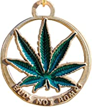 product image for From War to Peace Buds Not Bombs O.G. Green Enamel Leaf Necklace on Adjustable Natural Fiber Cord