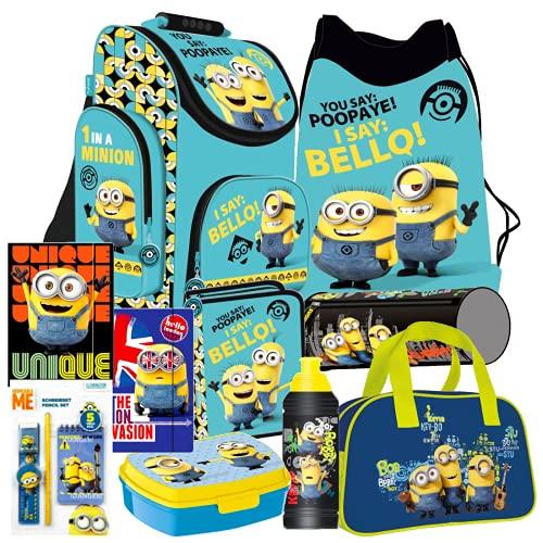Minions 10 Teile Set blau Schulranzen Ranzen Federmappe Tornister mit Sticker von Kids4shop