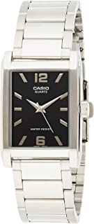 Watch Set for Unisex by Casio, Stainless Steel Band, Black Dial (2) MTP/LTP-1215A-1A