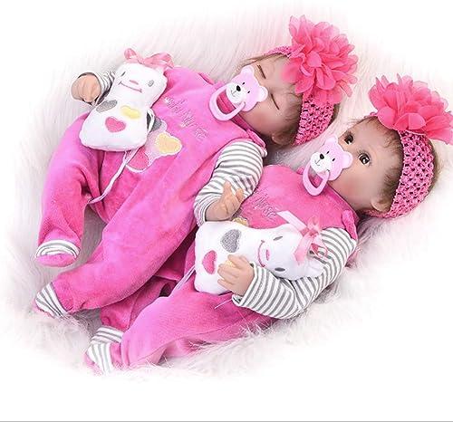NACHEN Wiedergeborene Doll 42 cm Blinking Closed Eyes Simulation Baby braun Cute Girl Dolls