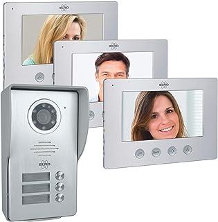 ELRO Türklingel DV477W3 3-Familien Video Türsprechanlage mit 3 Farbdisplay, Kamera mit..