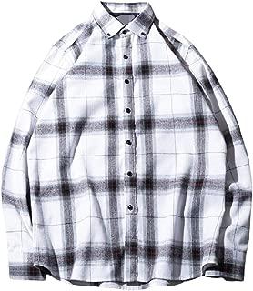 Energy Men's Japanese Long Sleeve Plaid Turn Down Collar Cardigan Flannel Shirts