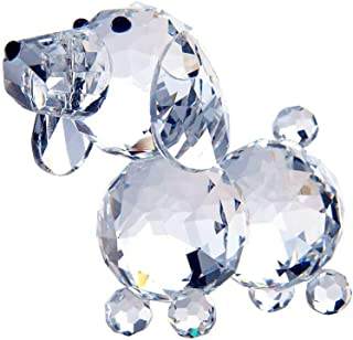 Waltz&F Crystal Dog Figurine Collection Glass Ornament Statue Animal Collectible