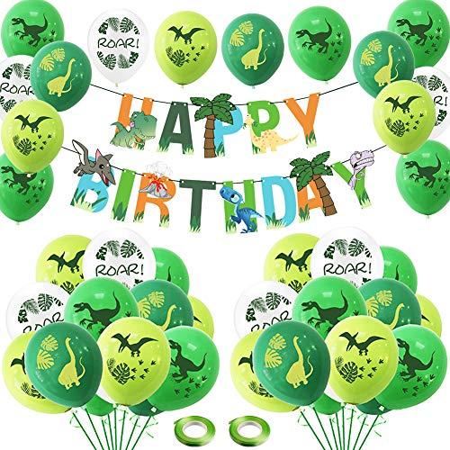 Decoración de Fiesta de la Selva,BETOY 39 Piezas Adornos Cumpleaños Dinosaurios Globos de Dinosaurio Set para Cumpleaños,Fiesta