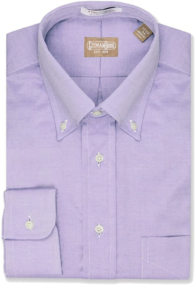 EZ Tuxedo Gitman Button Down Pinpoint Lavender Dress Shirt