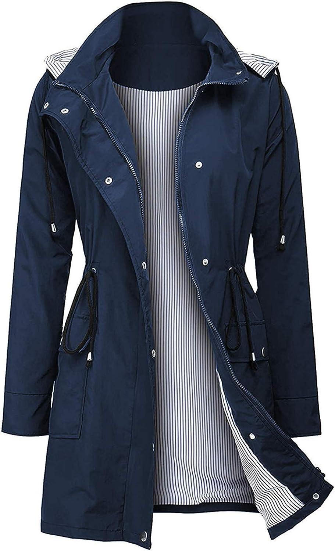 Arthas Women Light Rain Jacket Waterproof Active Outdoor Trench Raincoat with Hood Lightweight Plus Size for Girls