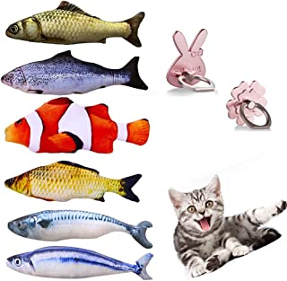 SAVING NOW 6 PCS Catnip Toy Cat Fish Toy Cat Supplies Catnip Kicker Toys 7.8in (Plus 2 Finger Ring Holder Stand)