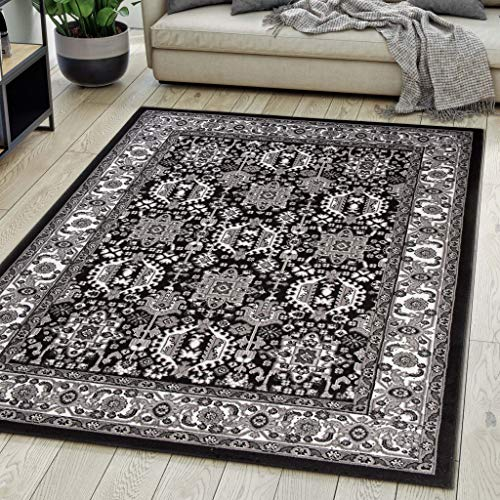 Tappeto Orientale Salotto a Pelo Corto Nero 160 x 230 cm Classico Persian Design