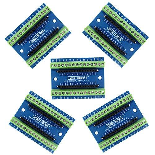 Diymore 5PCS Nano Módulo de Sensor de expansión para Arduino Nano V3.0 Nano Terminal Adapter CH340G