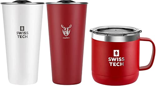 discount SWISS+TECH 14 oz Coffee popular outlet sale Mug(Red)+ 16oz Stainless Steel Cups(White&Red) outlet sale