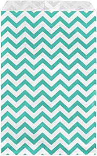 100 Bags Flat Plain Paper or Patterned Bags for Candy, Cookies, Merchandise, pens, Party Favors, Gift Bags (Teal, 4