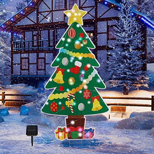 Christmas Yard Signs Decorations with Lights, Quyhuong 46-Inch Laser Layer with Modes Solar Powered Christmas Yard Sings with Stakes for Holiday Outdoor Indoor Decors is $19.99 (79% off)