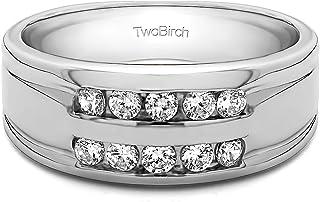 مجموعة تو بيرش من الفضة الإسترلينية ذات صف مزدوج من 10 قناة، خاتم زفاف للرجال مع زركونيا مكعب (0.25 قيراط المقاس 9.5)
