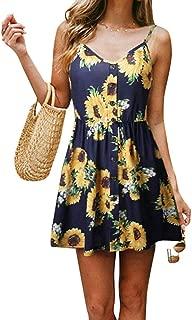 INIBUD V Neck Mini Dress for Women Short Dress Summer Button Floral Print Spaghetti Straps Sleeveless Beach Boho Dress