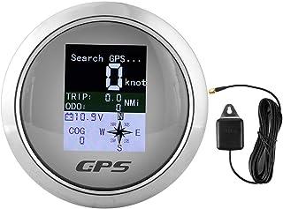Acouto Speedometer for Car 85mm Speedometer GPS Car Boat Engineer 316 Stainless Steel IP67 Waterproof Digital Gauges Universal(White DialInput Parameters)