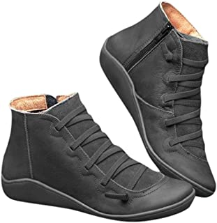 Women Arch Support Boots Fashion Lace Up Side Damping Zipper Ankle Booties Comfortable Leather Flat Heel Boots 2019