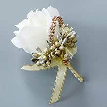 cici store 1Pc Wedding Artificial Brooch Bouquet,Glitter Rhinestone Bride Groom Prom Boutonniere with Pin,White + Gold