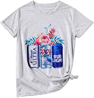 Women Coors Light Bud Light Drinking T-Shirt Short Sleeve Funny Casual Beer Graphic Tees Tops