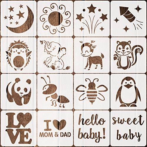 16 Pack Stencils for Baby Shower Cute Onesie Stencil Kit for Fabric Paint Baby Shower Stencils for Painting Bodysuit