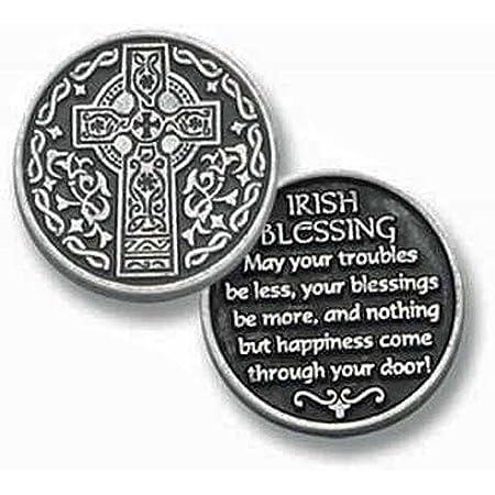 IRISH CELTIC PRAYER WALLET CARD W//CHARM RUBBER CHARM FAITH BLESSING CARD /& CHARM