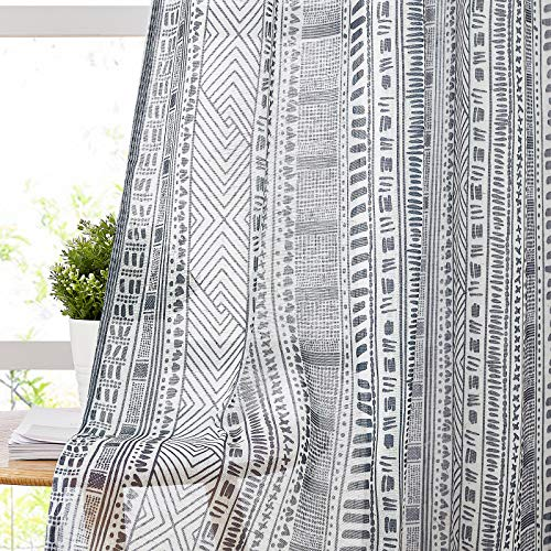 """NICETOWN Vintage Flax Linen Semitransparent Sheer Bedroom Curtains 45"""" L, Decorative Bohemian Window Treatment Privacy with Light Through for Nursery / Bathroom, 100"""" Wide Total 2 Panels, Navy"""
