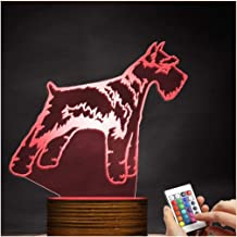 3D Led Lamp Optical Illusion Schnauzer Night Light 16 Colors with Remote Control Lighting Table Desk Bedroom Decoration Toy Gift Idea Christmas Gift Zjnhl Exquisite Gift