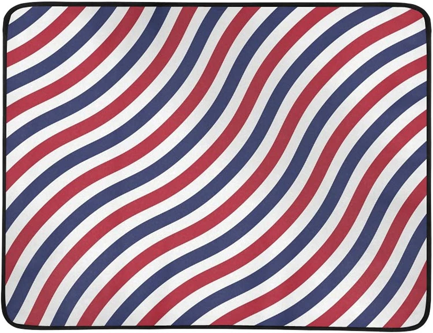 Patriotic American Stripes On White Portable and Foldable Blanket Mat 60x78 Inch Handy Mat for Camping Picnic Beach Indoor Outdoor Travel