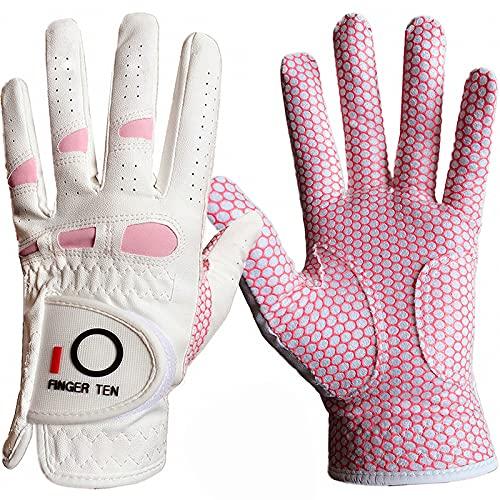 Golfhandschuhe Damen Paar, Linke Rechte Hand Extra Allwetter Leder Griff 3D Performance Golf Handschuh Links Rechts rutschfest Weicher Komfort S M L XL(rutschfeste 1Paar, L)