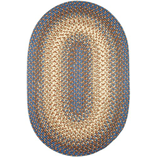 Super Area Rugs Hartford 5' X 8' Oval Braided Rug Blue & Beige Indoor/Outdoor Rug Primitive Washable Carpet