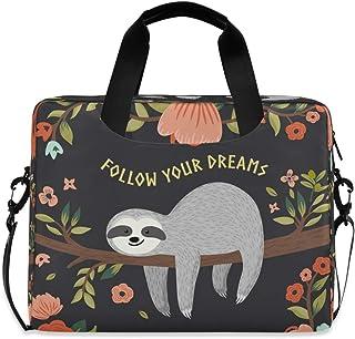 AUUXVA Laptop Bag Case 13 14 15.6 inch Cute Animal Flower Sloth Pattern Laptop Briefcase Messenger Bag Computer Case Shoul...