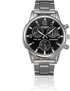 Man Leather Strap Crystal Stainless Steel Quartz Analog Wrist Watch Hosamtel (Black)