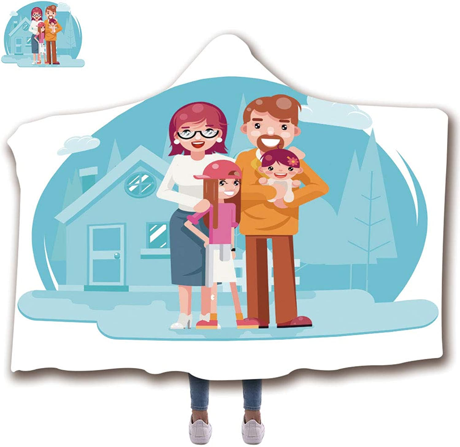 Wearable Hooded Throw Blanket Soft Plush Blanket,3D Printed Pattern in Holiday Winter Suit for Adults (59 H x 79 W) Cute Happy Young Family Mother Father Daughter with New House Real Estate Retro FLA